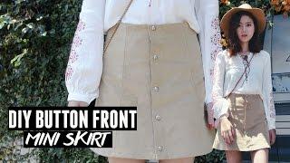 DIY Button Front A-line Corduroy Skirt/ Moto Skirt