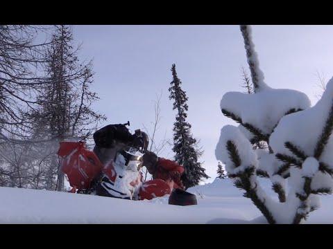 Полет снегохода в овраг, Покатушка на снегоходах!.GA 02152015 Часть2