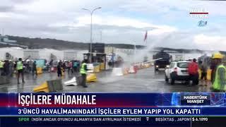3'üncü havalimanındaki işçiler eylem yaptı