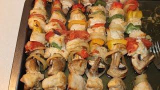 Шашлык из куриной грудки с овощами и грибами  Дома