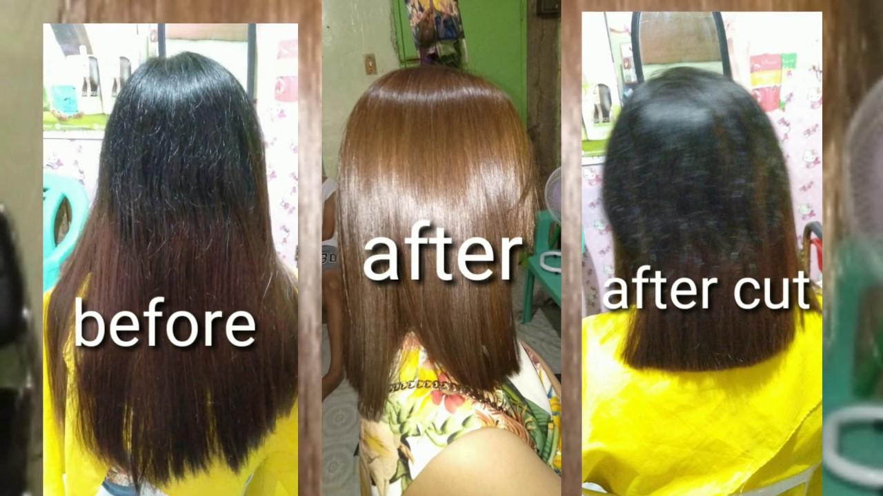Hair Rebond And Hair Color Youtube