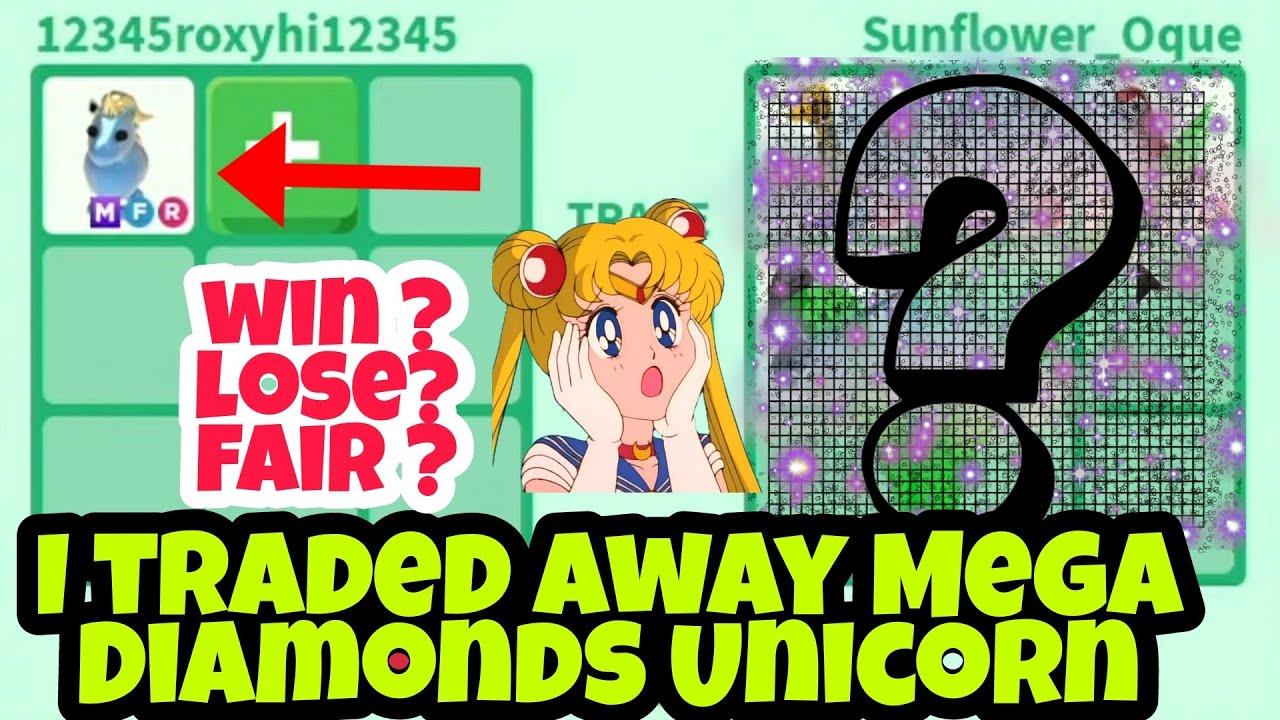 I Traded Away My Mega Diamond Unicorn In Roblox Adopt Me Trading