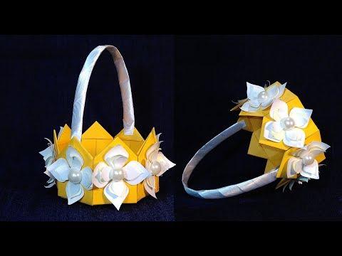 ORIGAMI BASKET. DIY paper basket. Easter DIY decorations.
