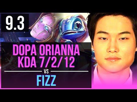 Dopa ORIANNA vs FIZZ (MID)   KDA 7/2/12, 67% winrate   Korea Diamond   v9.3