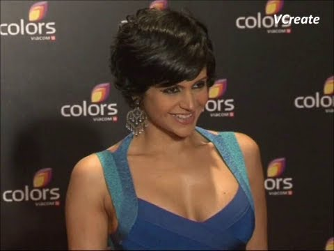 mandira bedi's low v neck dress reveales her assets.