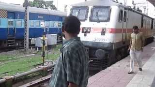 12301 Howrah Rajdhani being coupled with the most powerful locomotive in IR, WAP-7 of GZB Shed