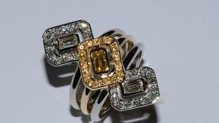 fancy yellow diamond mounted on gold handmade ring