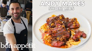 Andy Makes Short Ribs with Crispy Garlic and Chile Oil | From the Test Kitchen | Bon Appétit