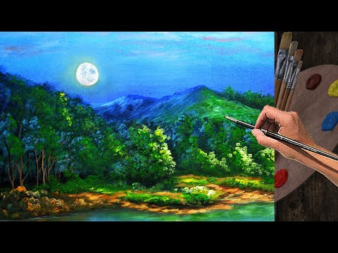 PAINTING TUTORIAL ACRYLIC – 13 TIMELAPSE | How to paint moonset during sunrise, water, and trees