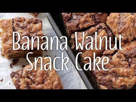 Banana Walnut Snack Cake