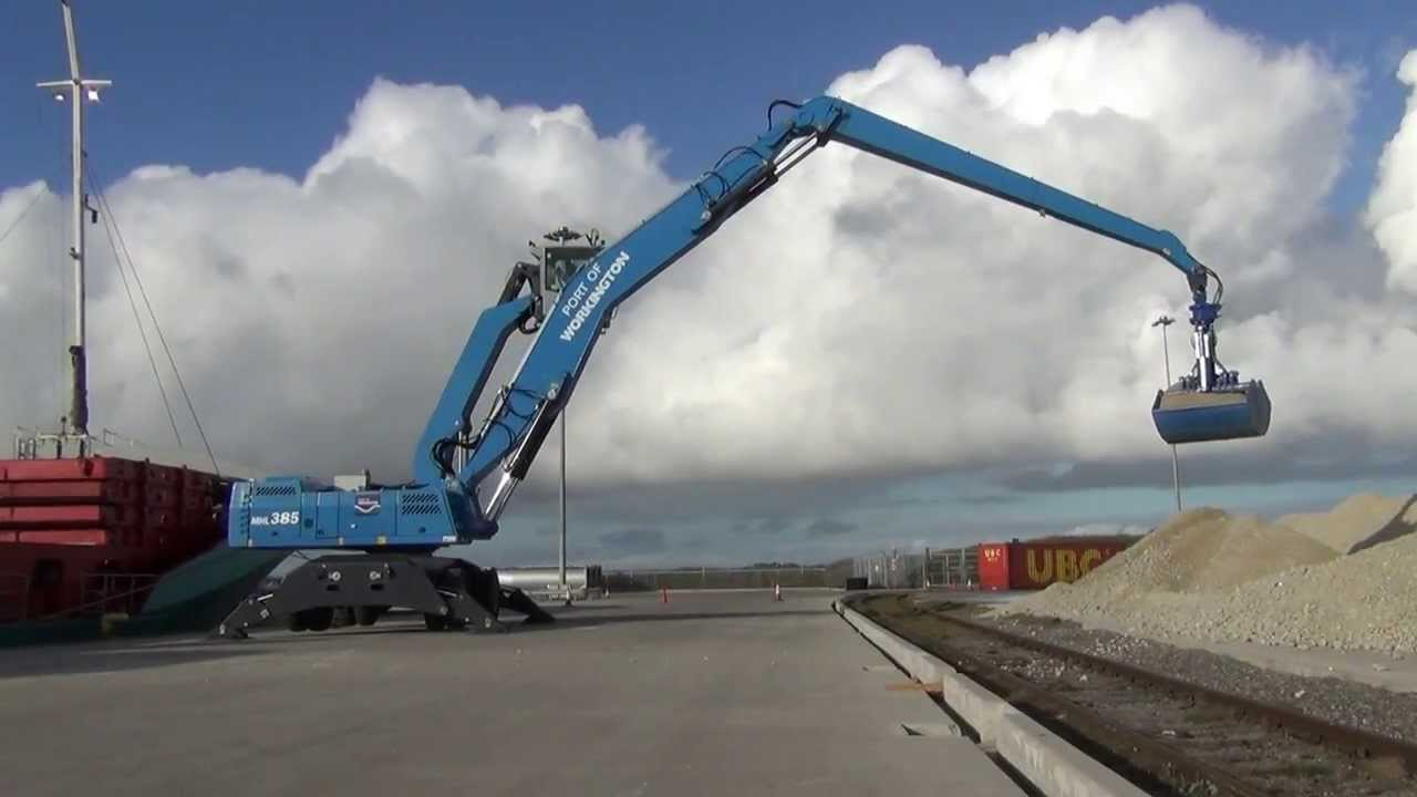Terex Fuchs MHL 385 with port lift cabin - YouTube