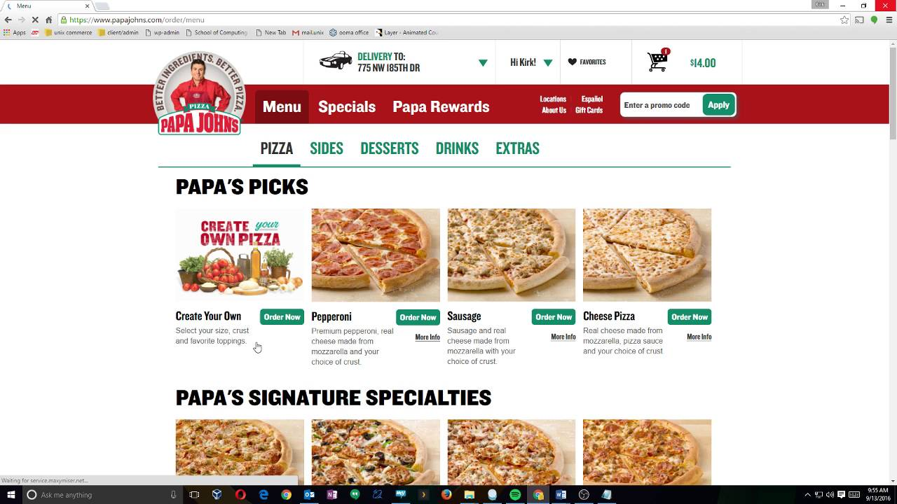 Papa Johns Pizza Checkout Process - YouTube
