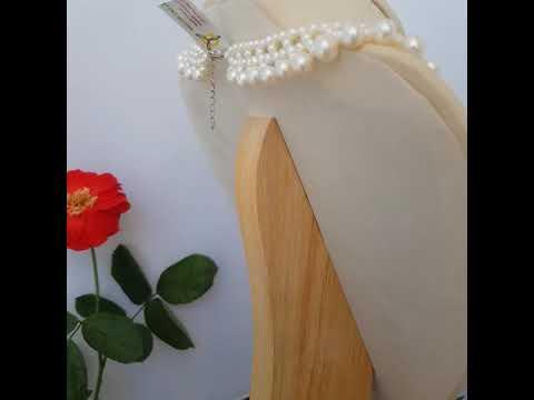 Vòng cổ Ngọc trai Thiên nhiên Cao cấp - Kết hàng chùm Vĩnh cửu - RacemePearl (4-8ly) - CTJ1205 + Tặng bông tai nụ bạc