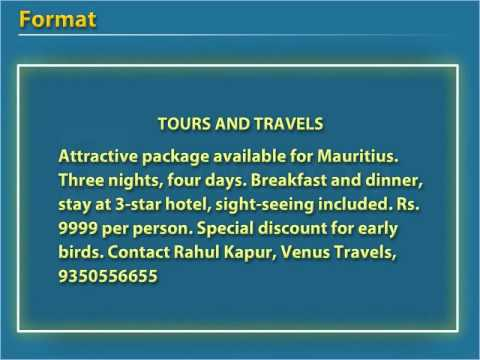 Classified Advertisements Tours and Travels - Class 12