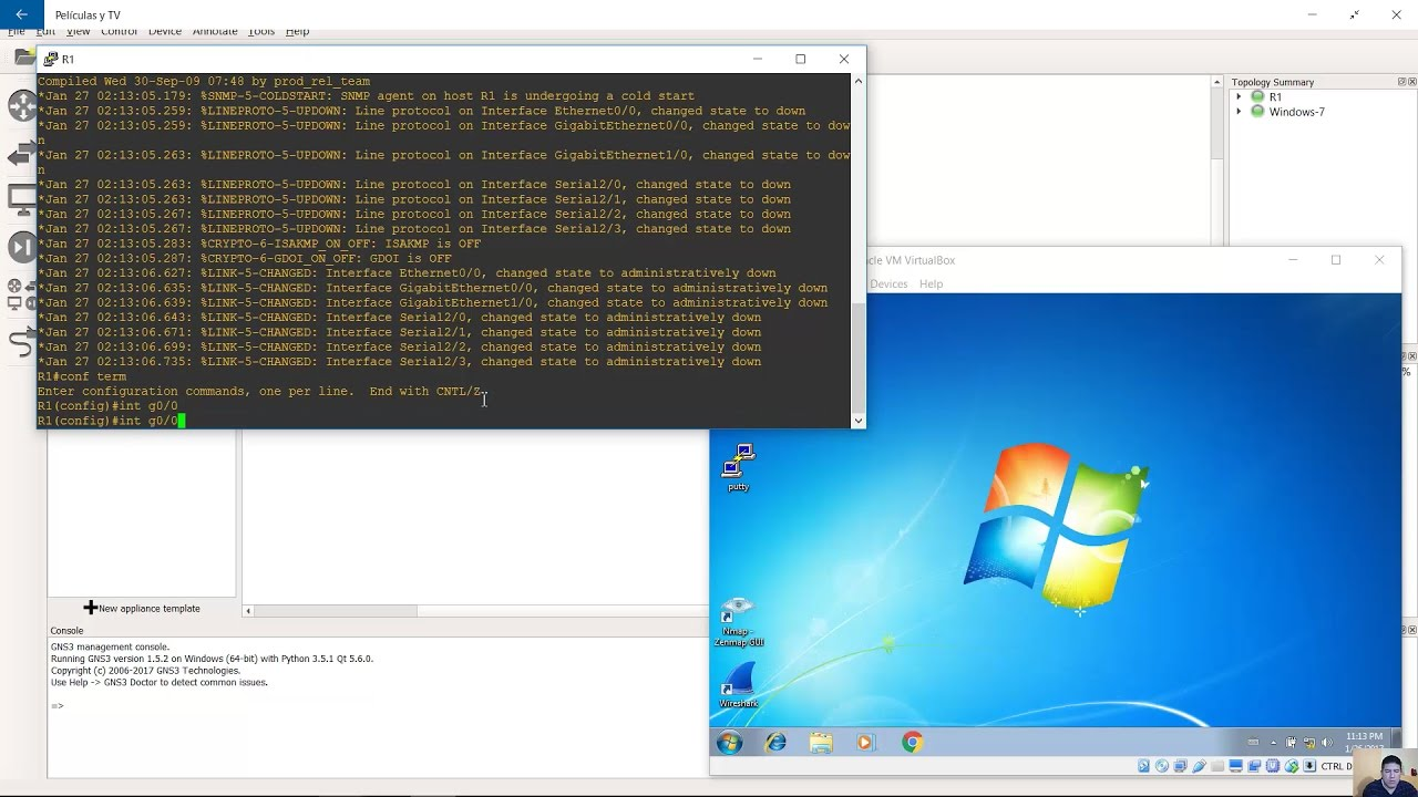 Install and Configure Windows 7 for GNS3 (1GB RAM, 20GB HD)