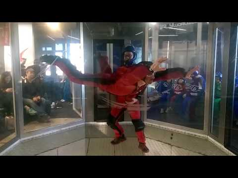 Adrian's indoors skydiving session in slow motion