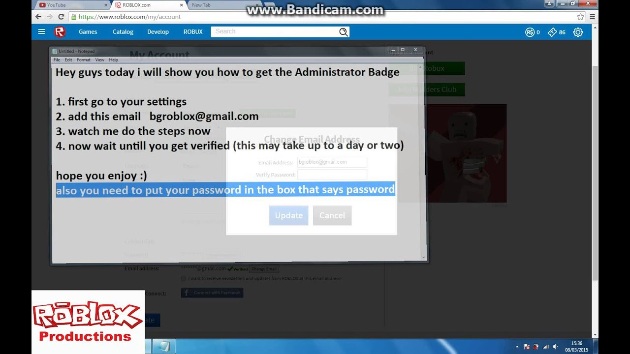 ROBLOX: How to get the Administrator Badge 2015! NEW EMAIL ...