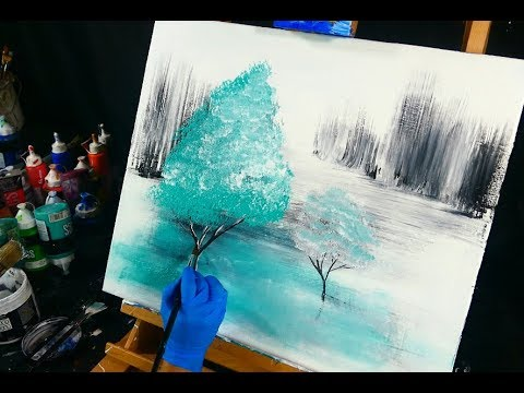2 teal trees on black and white ice, 3 colors, beautiful reflection