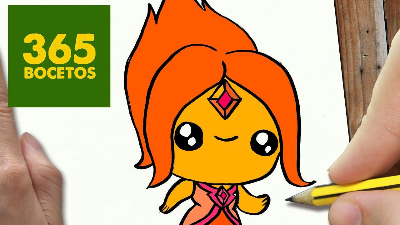 COMO DIBUJAR PRINCESA FLAMA KAWAII PASO A PASO , Dibujos kawaii faciles ,  draw Flame Princess , YouTube