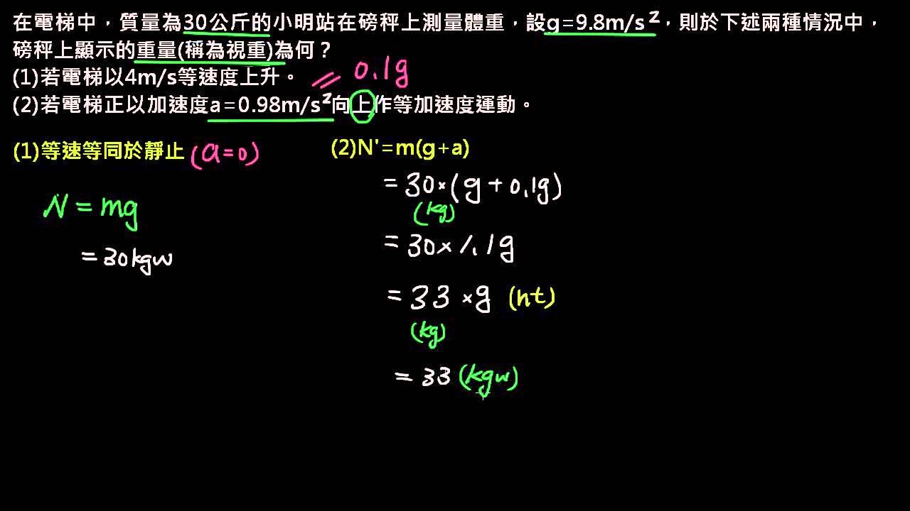 牛頓力學 【例題】01電梯中的視重 - YouTube