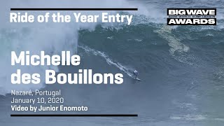 Michelle des bouillons (rio de janeiro, brazil) beats out a tall wall with foam chaser at praia do norte, nazaré, portugal on january 10, 2020. video by ju...