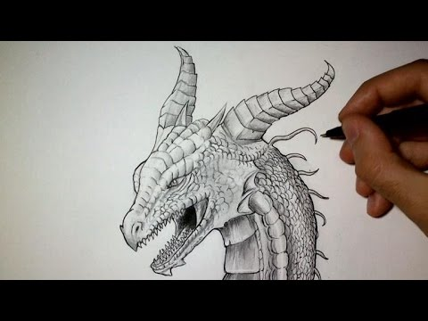 Comment dessiner une t te de dragon tutoriel youtube - Tete de monstre a dessiner ...