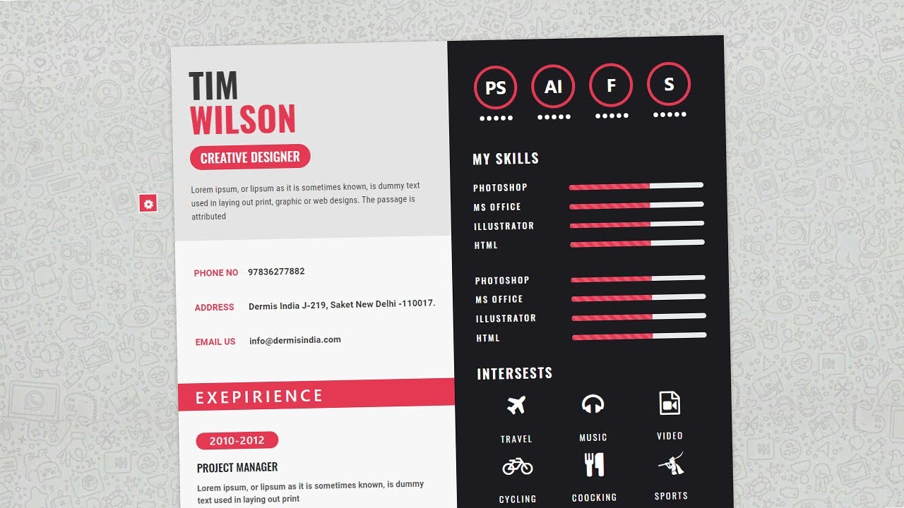 Complete CV Website Design using HTML 5, Bootstrap 5, CSS 3 and Jquery