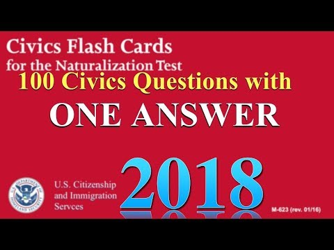 "100 Civics Questions with ""ONE ANSWER EACH"" for U.S. Citizen"