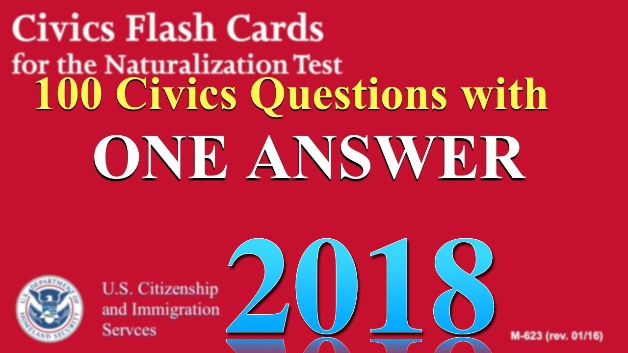 """100 Civics Questions with """"ONE ANSWER EACH"""" for U.S. Citizenship ..."""