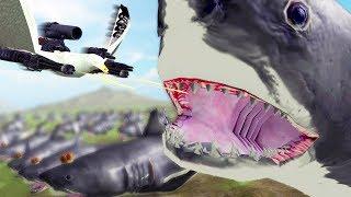 Super Seagull vs 100 Mega-Megalodons - Beast Battle Simulator Gameplay   Pungence