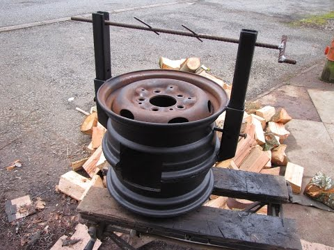DIY Wood Stove made from Car Wheels! Easy Welding Project! B
