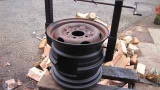 Repeat youtube video DIY Wood Stove made from Car Wheels! Easy Welding Project! Bacon! CATS!