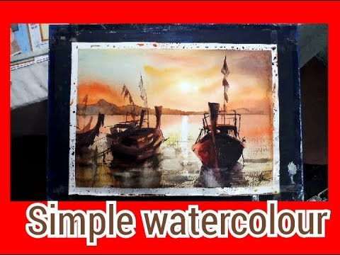 simple watercolour painting wet and wet technique