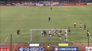 左サイドからのCKを谷口 彰悟(川崎F)が打点の高いヘディングで叩き込...
