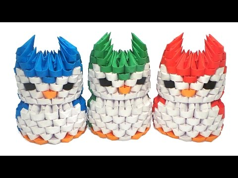 How to make 3d origami Snowy Owl - YouTube | 360x480