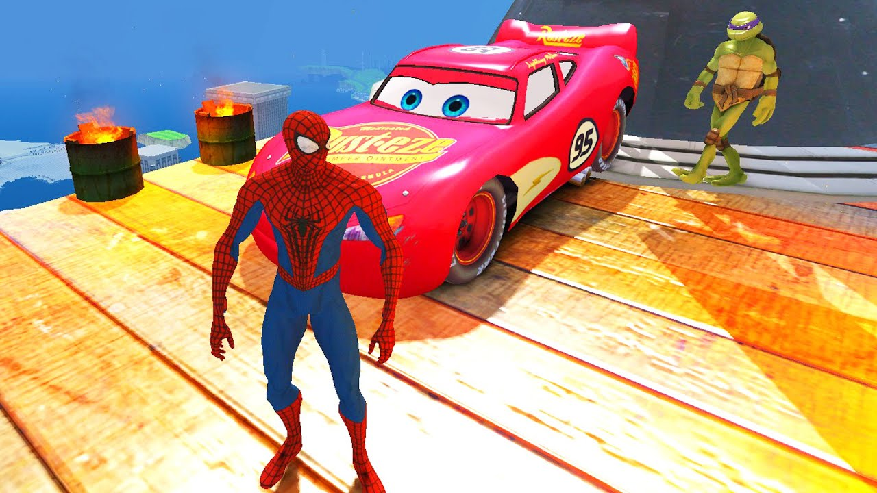 Spiderman tortues ninja flash mcqueen disney pixar cars 2 dessin anim francais youtube - Dessins animes spiderman ...