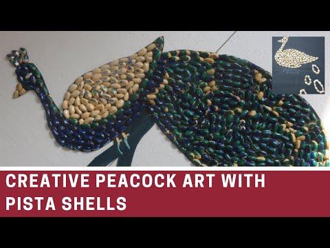 Pista shell craft/Pista shell art/peacock design by pista shell