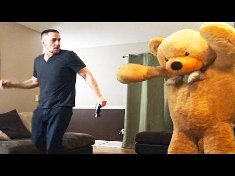 Giant Teddy Bear Prank On Husband