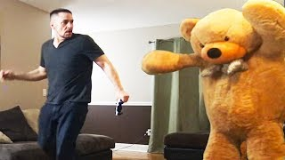 Giant Teddy Bear Prank On Husband