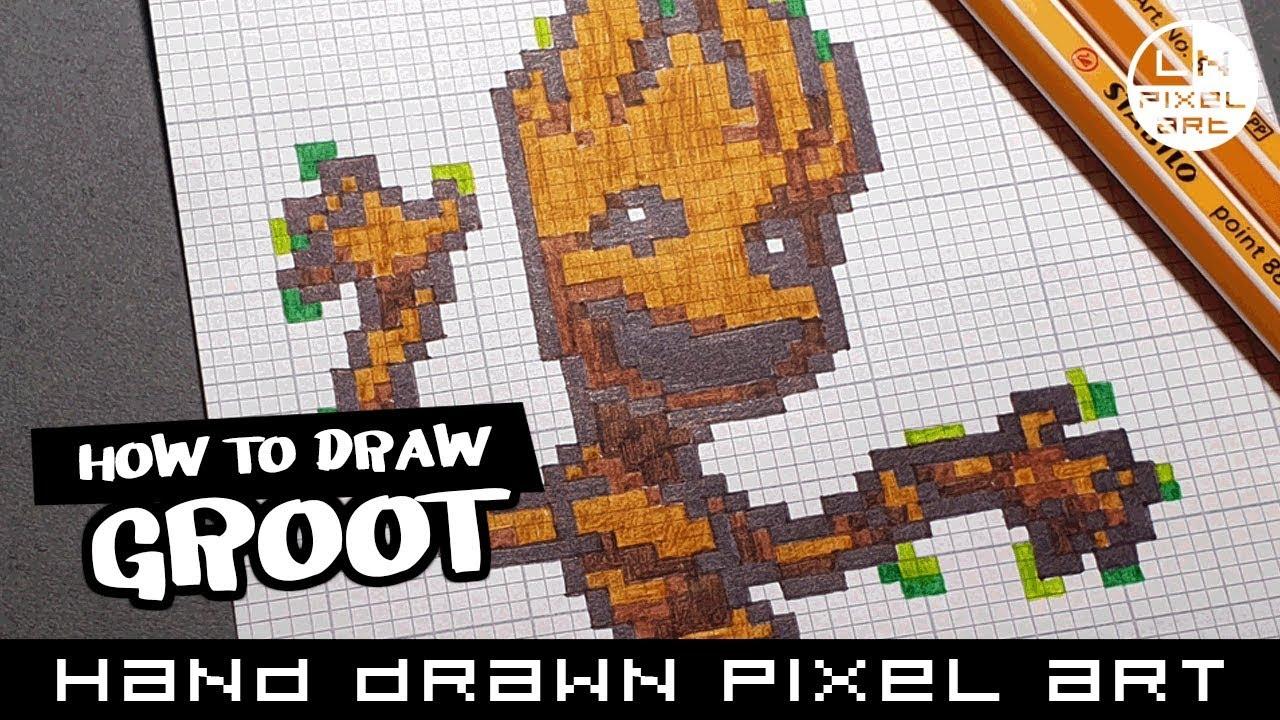 How To Draw Groot Guardians Of The Galaxy Hand Drawn Pixel Art Speedpaint Pixelart Speedpaint