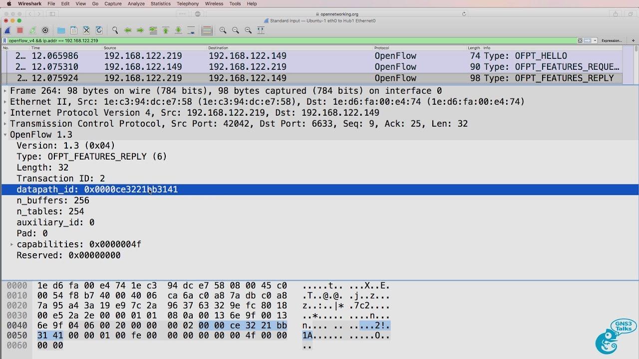 GNS3 Talks: OpenFlow captures using Wireshark, Docker containers,  OpenDaylight, SDN