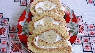 Бисквитный рулет рецепт с кремом и бананом просто и быстро Рулет бисквитный Бісквітний рулет рецепт