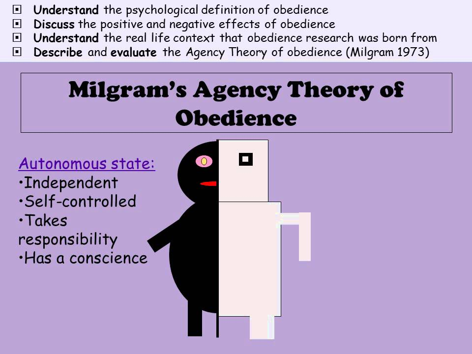 milgram s agency theory Freshman studies term ii critical analysis and milgram's response  of the experiment and the damage done to milgram's subjects, in actuality, milgram.