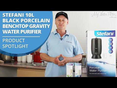Stefani 10L Black Porcelain Benchtop Gravity Water Purifier