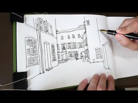 Epinal Town Houses Pen & Ink Sketch (tutorial)