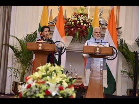 PM Modi & Myanmar State Counsellor Daw Aung San Suu Kyi at Joint Press Statements