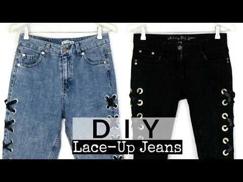 DIY Lace-up Jeans| Monica Beneyto - YouTube