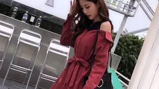 韓系系帶露肩襯衫假兩件寬松襯衫裙長袖洋裝 thumbnail