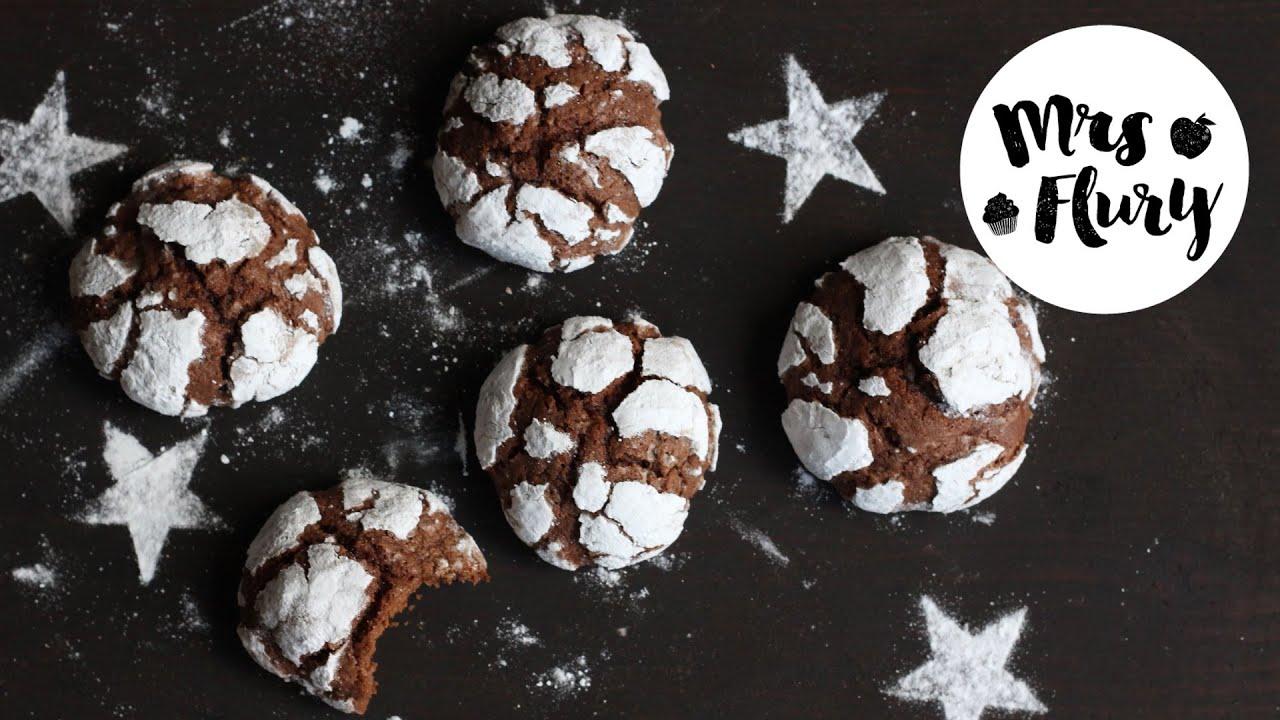 Schokoladen Weihnachtskekse.Snowcap Cookies Amerikanische Schokoladen Weihnachtskekse Backen Mit Mrs Flury