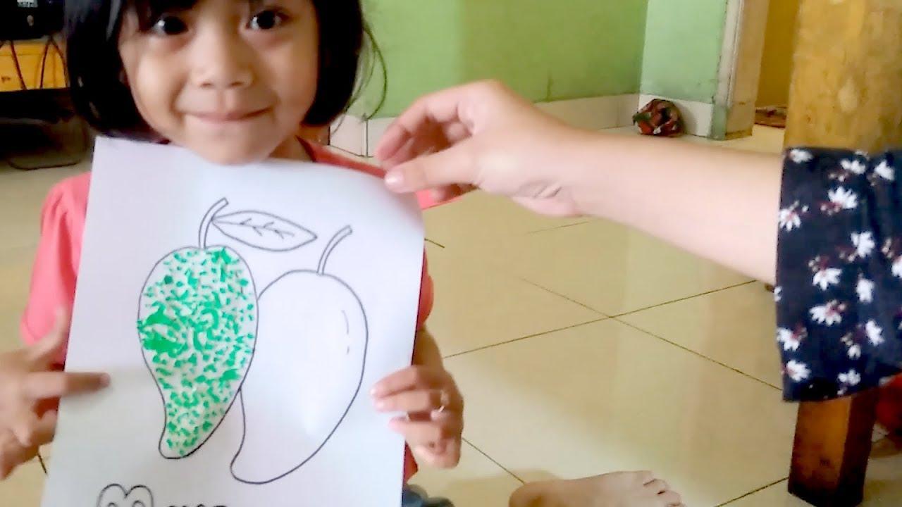 Asiknya Makan Mangga Sambil Mewarnai Gambar Mangga Dengan Kertas Origami Youtube